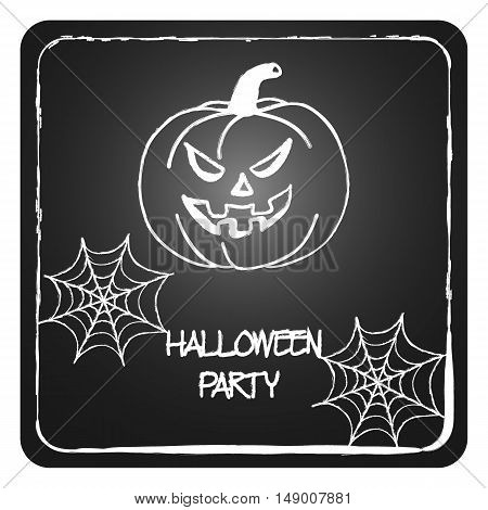 Stock Vector Cards Template For Halloween Party. Hand Drawing Pumpkin, Web. Drawn In Chalk On A Blac