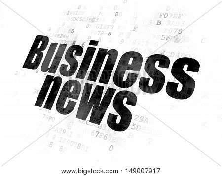 News concept: Pixelated black text Business News on Digital background
