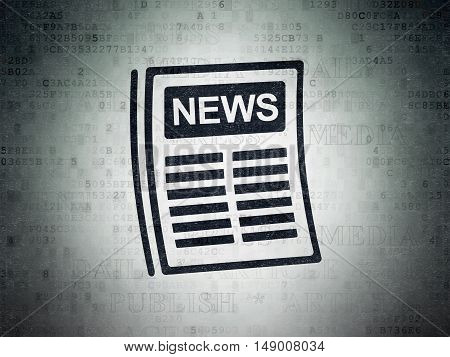 News concept: Painted black Newspaper icon on Digital Data Paper background with  Tag Cloud