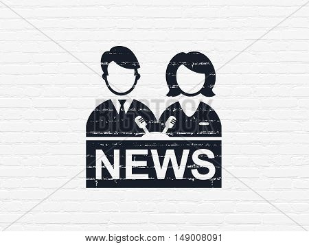 News concept: Painted black Anchorman icon on White Brick wall background
