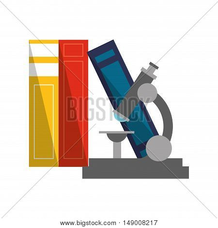 flat design books and microscope  icon vector illustration