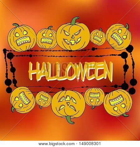 Stock Vector Card Template For Halloween Party. Hand Drawing Pumpkins. Splatter Frame. Text Inscript