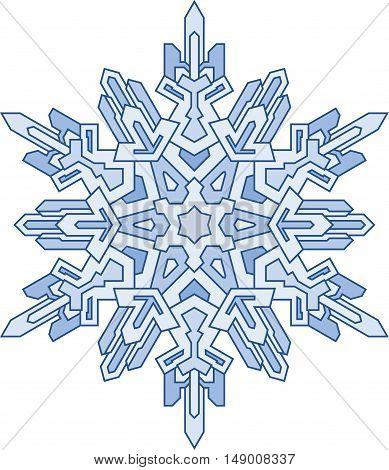 Decorative snowflake in mono line style. Vector geometric pattern in blue tones.