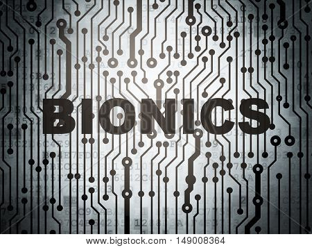 Science concept: circuit board with  word Bionics, 3D rendering