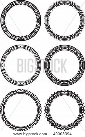 Set Of 6 Round Frames Or Templates For Rubber Stamps