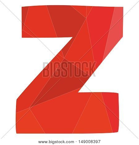 Z red alphabet wrapping surface vector letter isolated on white background
