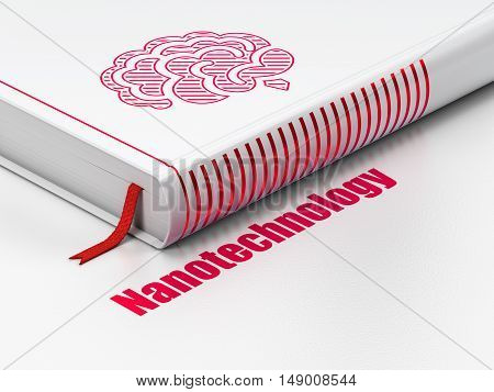 Science concept: closed book with Red Brain icon and text Nanotechnology on floor, white background, 3D rendering