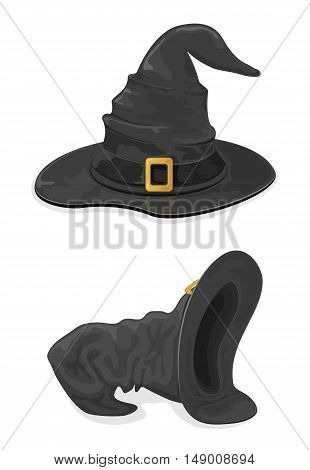 Halloween theme, set of black witches hats with golden buckle, isolated on white background, illustration.