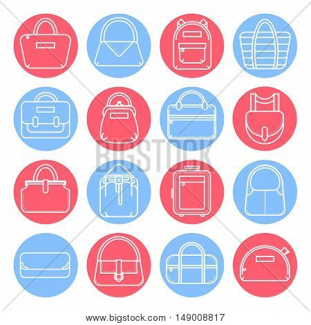 Set of fashion bag line icons in red and blue circles, vector illustration isolated on white background. Set of 16 various thin line fashion bag icons in colored circles
