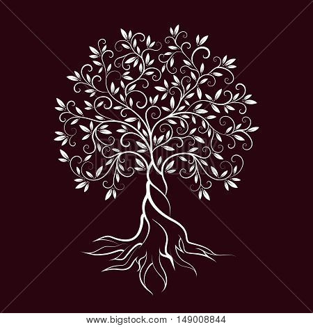 Olive tree outline curl silhouette icon isolated on burgundy background. Web graphics stroke modern vector sign.
