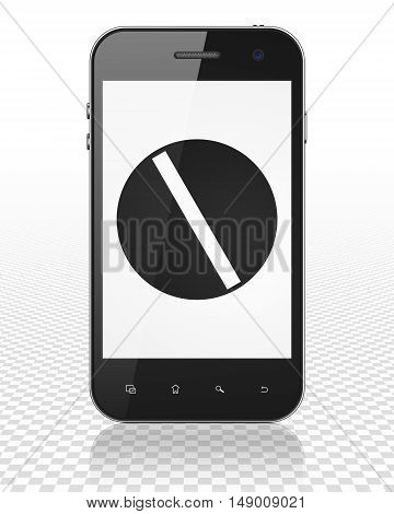 Medicine concept: Smartphone with black Pill icon on display, 3D rendering