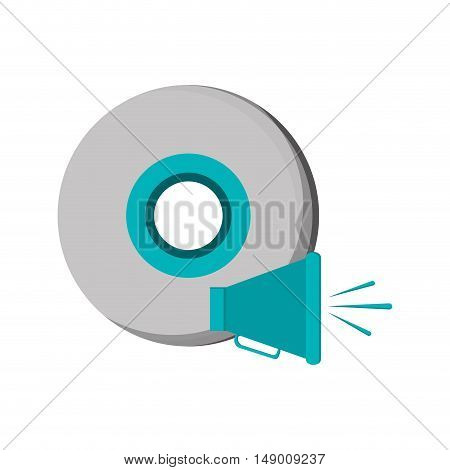 flat design cd and megaphone  icon vector illustration
