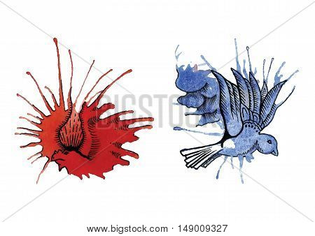 watercolor abstract dragon and dove from blots
