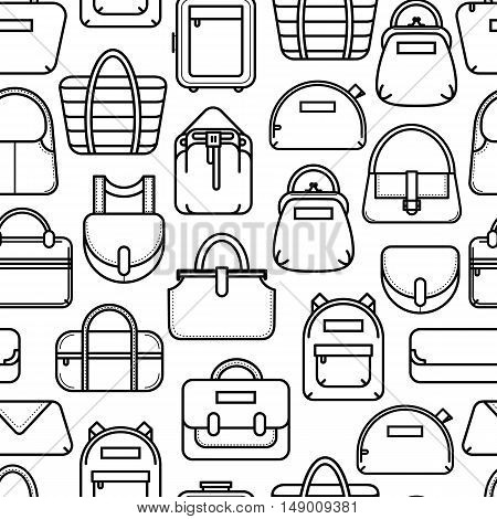 Black and white seamless background with fashion bag line icons, vector illustration isolated on white background. Seamless fashion bag pattern, black on white background, thin line icon style