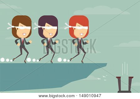 The blind leading the blind . Stock vector illustration