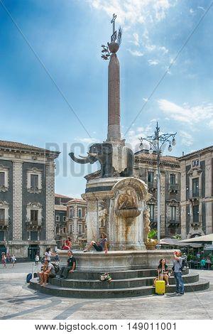 Catania, Sicily, Italy JUL25, 2016 : Elephant Fountain - elephant fountain is the symbol of Catania, located in Piazza del Duomo