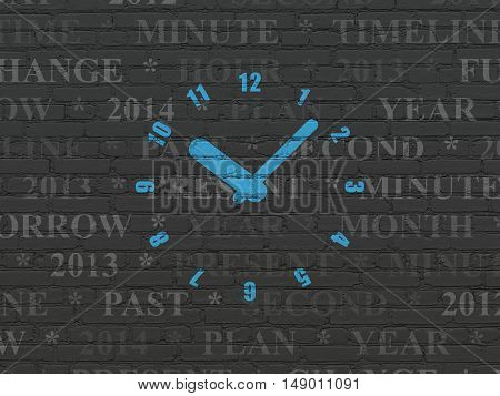 Timeline concept: Painted blue Clock icon on Black Brick wall background with  Tag Cloud