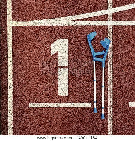 Medicine Crutch For Broken Leg. Number One. Big White Track Number One