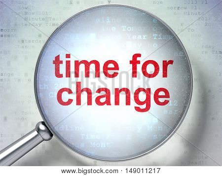 Timeline concept: magnifying optical glass with words Time for Change on digital background, 3D rendering