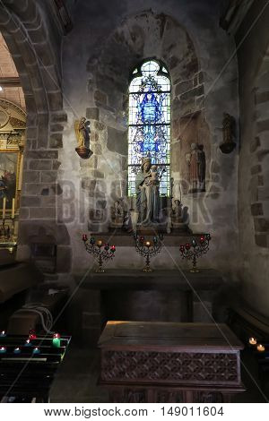 Mont Saint Michel France - September 8 2016: The interior of the church of St. Peter in the Mont Saint-Michel in Normandy France. The side chapel of the Madonna