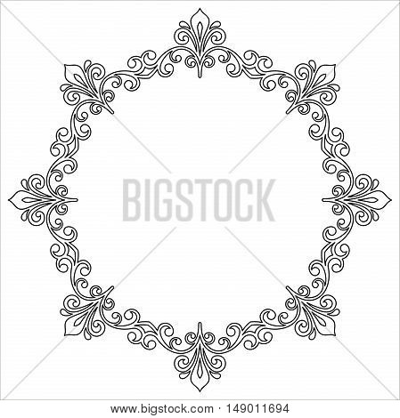 Elegant vector black and white ornament in the style of barogue. Abstract traditional pattern with oriental elements