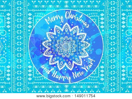 Greeting blue card Happy New Year and Merry Christmas. Mandala Snowflake. Arabic and Indian style.