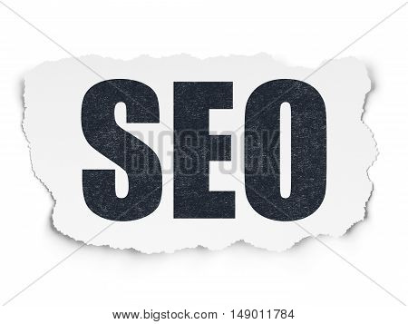 Web development concept: Painted black text SEO on Torn Paper background with  Tag Cloud
