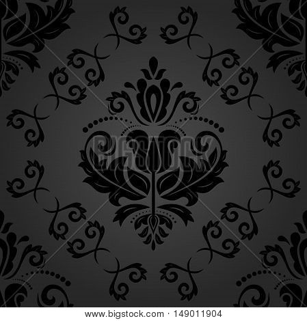 Damask vector dark classic pattern. Seamless abstract background with repeating elements