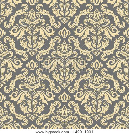 Seamless baroque vector golden pattern. Traditional classic orient ornament
