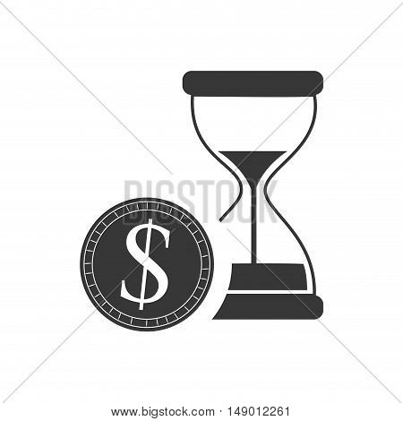 hourglass or sandclock with money coin icon silhouette. vector illustration