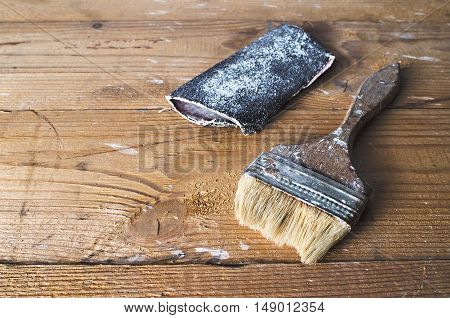 Old Brush And Sandpaper
