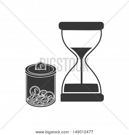 hourglass or sandclock with moneybox icon silhouette. vector illustration
