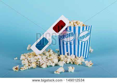 Popcorn Bucket Against A Blue Background