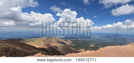 View from the top at Pikes Peak in Colorado - Stitched from several photos