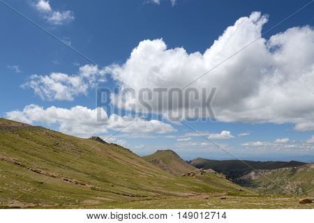 Viw of Pikes Peak in Colorado during the Summer
