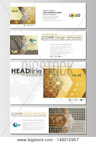 Social media and email headers set, modern banners. Business templates. Cover design template, easy editable, abstract flat layout in popular sizes. Islamic gold pattern, overlapping geometric shapes forming abstract ornament. Vector golden texture.