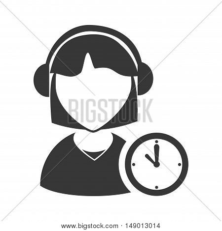 avatar woman online support call center with time clock icon silhouette. vector illustration