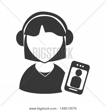 avatar woman online support call center with smartphone device icon silhouette. vector illustration