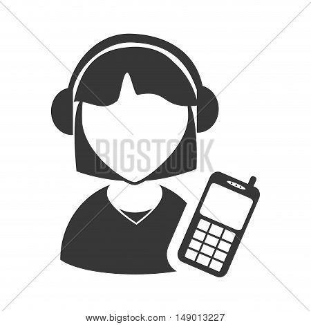 avatar woman online support call center with mobile phone icon silhouette. vector illustration