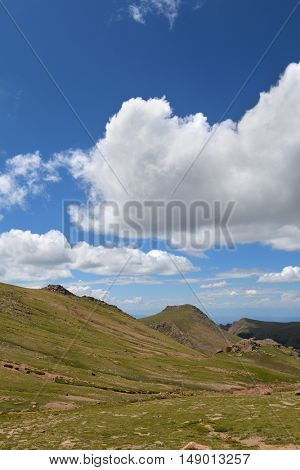 Pikes Peak mountain in Colorado during Summer time