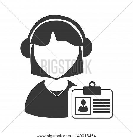 avatar woman online support call center with id card icon silhouette. vector illustration