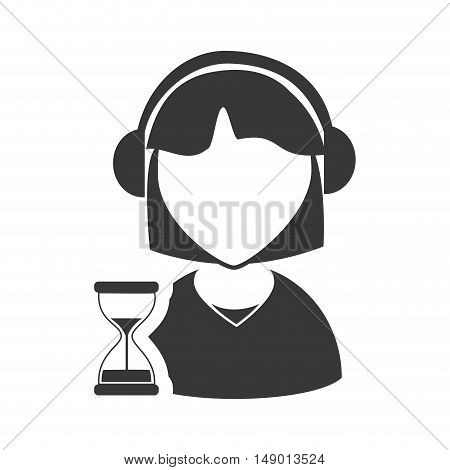 avatar woman online support call center with sand clock icon silhouette. vector illustration