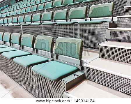 Rows Of Empty Seats In The Stadium, Selective Focus