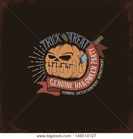 Halloween logo on a dark background with a pumpkin stuck a knife ribbon and inscription trick or treat. Vector vintage illustration.