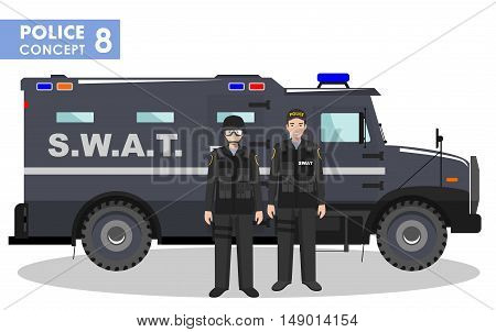 Detailed illustration of police car SWAT officer and policeman in flat style on white background.