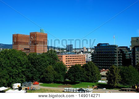 landscape on City Hall (Radhuset) form fortress in Oslo Norway