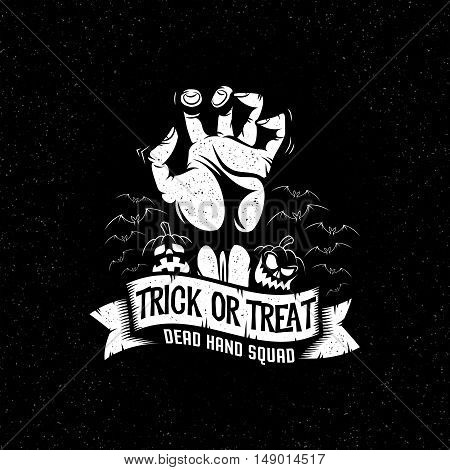 Halloween dead man's hand and pumpkin - black and white mascot symbol poster retro. Vector illustration layered.