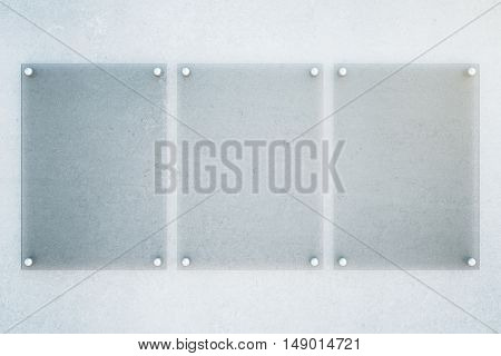 Front view of three empty glass plates on concrete wall background. Mock up 3D Rendering