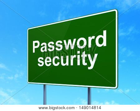 Safety concept: Password Security on green road highway sign, clear blue sky background, 3D rendering