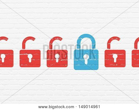 Security concept: row of Painted red opened padlock icons around blue closed padlock icon on White Brick wall background